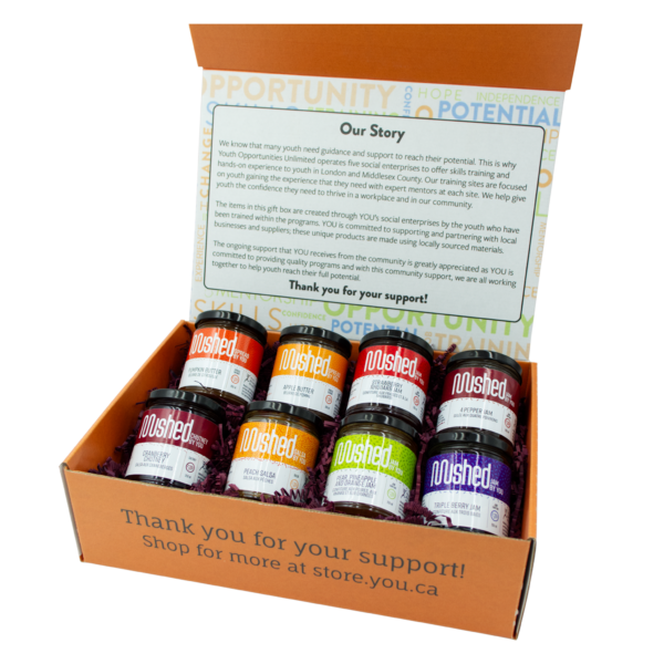 Gift box with 8 jars of jam.