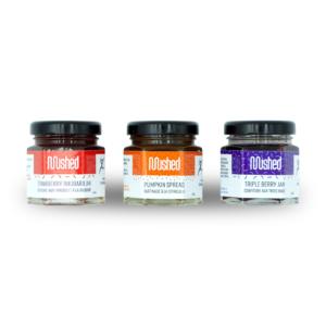 Set of 3 mini jars of jam.